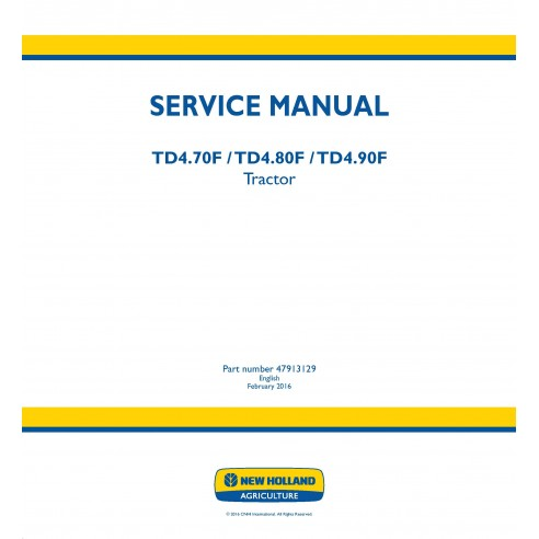 Manual de servicio del tractor New Holland TD4.70F / TD4.80F / TD4.90F - Agricultura de New Holland manuales