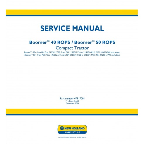 New Holland Boomer 40/ 50 ROPS compact tractor service manual - New Holland Agriculture manuals