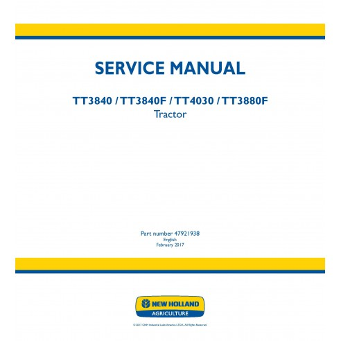New Holland TT3840 / TT3840F / TT4030 / 3880F tractor service manual - New Holland Agriculture manuals