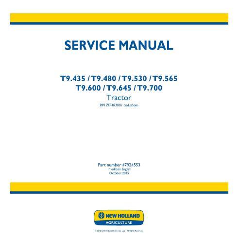 Manual de servicio del tractor New Holland T9.435 / T9.480 / T9.530 / T9.565 T9.600 / T9.645 / T9.700 - Agricultura de New Ho...