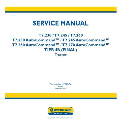 Manuel d'entretien du tracteur New Holland T7.230 / T7.245 / T7.260 / T.270 AutoCommand - Agriculture de New Holland manuels