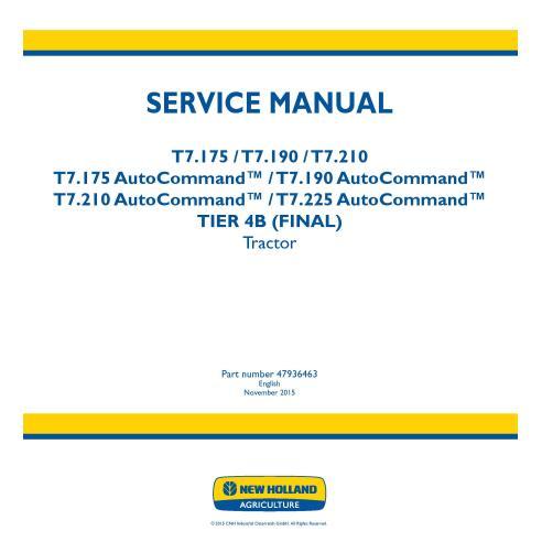 Manuel d'entretien du tracteur New Holland T7.175 / T7.190 / T7.210 / T.225 AutoCommand - Agriculture de New Holland manuels