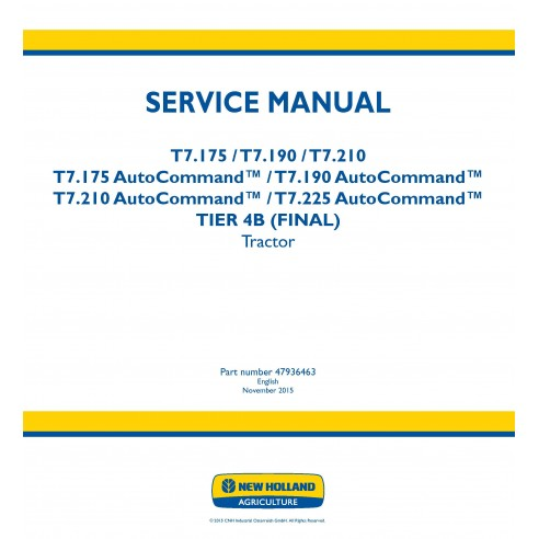 New Holland T7.175 / T7.190 / T7.210 / T.225 AutoCommand tractor service manual - New Holland Agriculture manuals