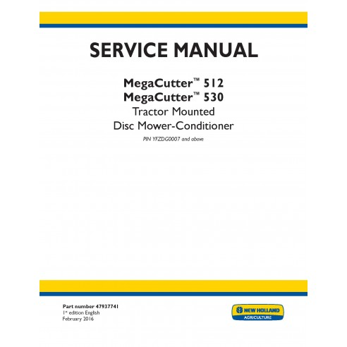 New Holland MegaCutter 512 / 530 tractor mounted disc mower-conditioner service manual