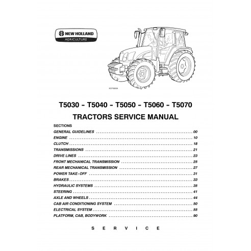 New Holland T5030 / T5040 / T5050 / T5060 / T5070 tractor service manual - New Holland Agriculture manuals