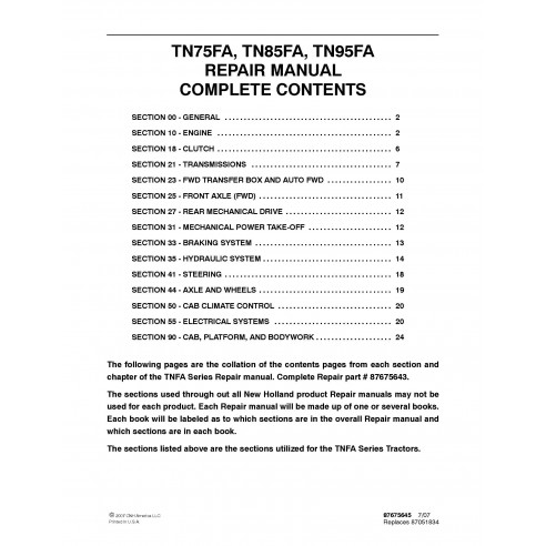 New Holland TN75FA / TN85FA / TN95FA tractor repair manual - New Holland Agriculture manuals