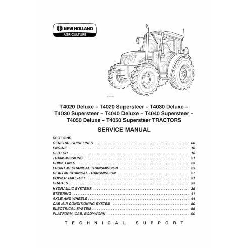 Manuel d'entretien du tracteur New Holland T4020 / T4030 / T4040 / T4050 Deluxe Supersteer - Agriculture de New Holland manuels