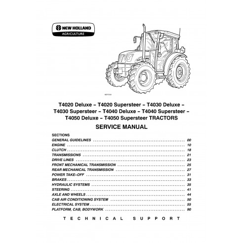 New Holland T4020 / T4030 / T4040 / T4050 Deluxe Supersteer tractor service manual - New Holland Agriculture manuals