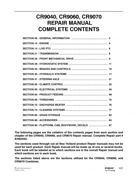New Holland CR9040 / CR9060 / CR9070 combine repair manual - New Holland Agriculture manuals