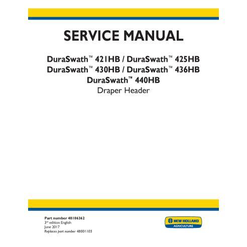 Manual de servicio del cabezal de cortinas New Holland DuraSwath 341HB / 425 HB / 430HB / 436 HB / 440 HB - Agricultura de Ne...