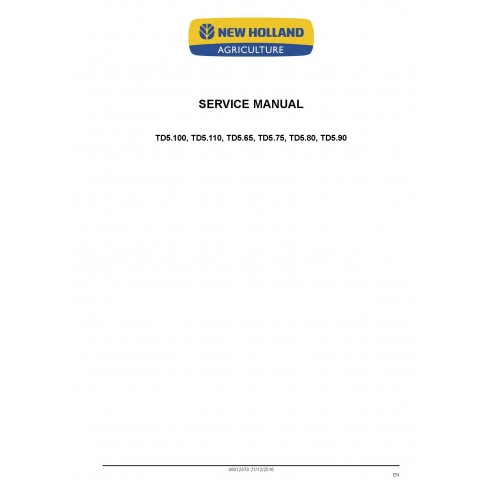 New Holland TD5.100, TD5.110, TD5.65, TD5.75, TD5.80, TD5.90 tractor service manual - New Holland Agriculture manuals
