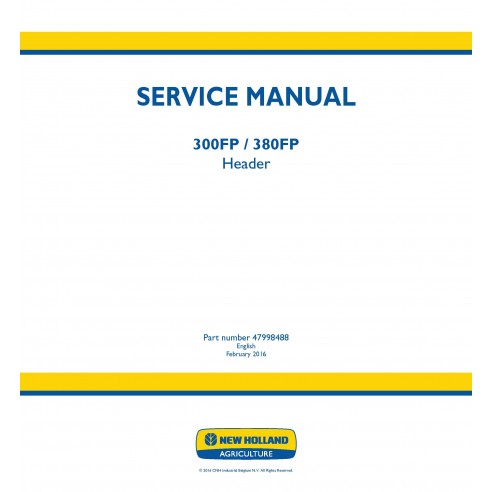 New Holland 300FP / 380FP header service manual - New Holland Agriculture manuals