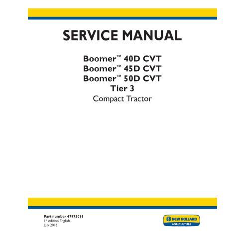 Manual de serviço do trator compacto New Holland Boomer 40D / 45D / 50D CVT - New Holland Agriculture manuais