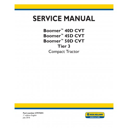 New Holland Boomer 40D / 45D / 50D CVT compact tractor service manual - New Holland Agriculture manuals