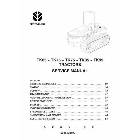 Manual de servicio del tractor New Holland TK65 / TK75 / TK76 / TK85 / TK95 - Agricultura de New Holland manuales