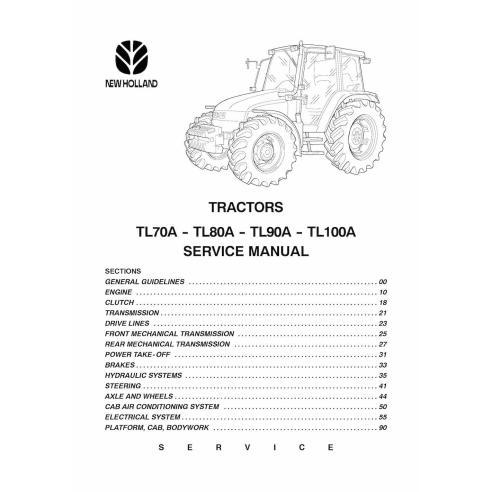 Manual de servicio del tractor New Holland TL70A / TL80A / TL90A / TL100A - Agricultura de New Holland manuales
