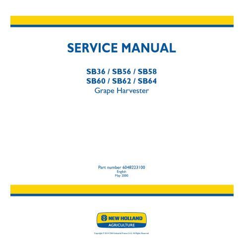 Manual de serviço da colhedora de uvas New Holland SB36 / SB56 / SB58 / SB60 / SB62 / SB64 - New Holland Agriculture manuais