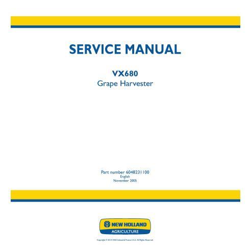 Manual de serviço da colheitadeira de uvas New Holland VX680 - New Holland Agriculture manuais