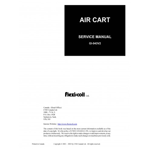 New Holland Flexi-Coil 1330 Plus / 40 Series / 50 Series air cart service manual - New Holland Agriculture manuals