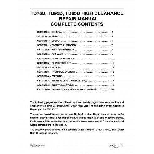 New Holland TD75D / TD95D tractor repair manual - New Holland Agriculture manuals
