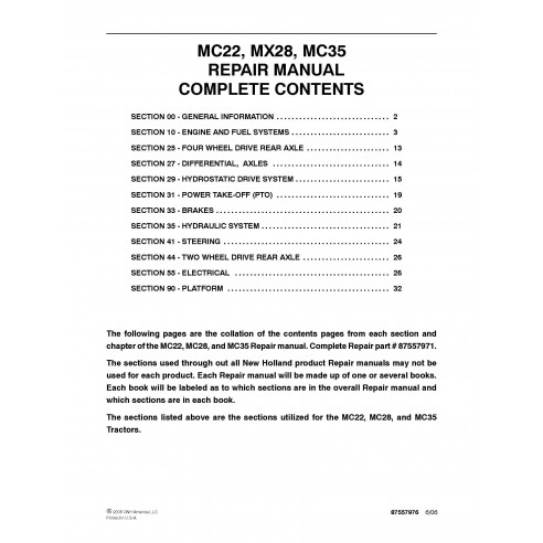 New Holland MC22 / MX28 / MC35 commercial mover repair manual - New Holland Agriculture manuals