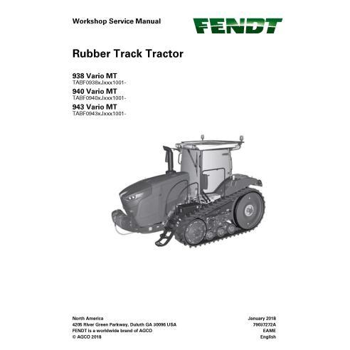 Manual de serviço de oficina de trator Fendt 938/940/943 Vario MT - Fendt manuais