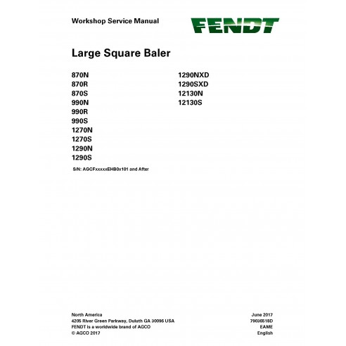 Fendt 870 / 990 / 1270 / 1290 / 12130 baler workshop service manual