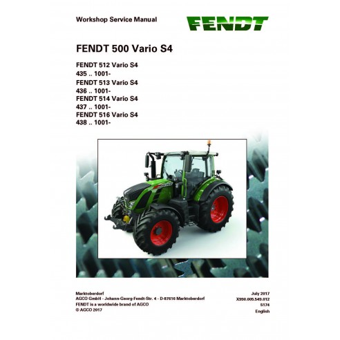 Fendt 500 - 512 / 513 / 5114 / 516 tractor workshop service manual