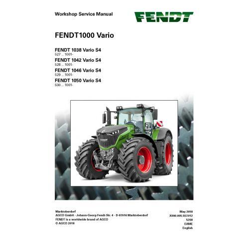 Manuel d'entretien de l'atelier de tracteur Fendt 1000-1038/1042/1046/1050 - Fendt manuels