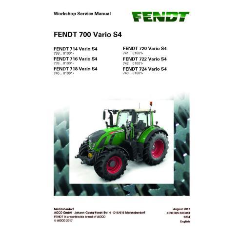 Fendt 700 - 714 / 716 / 718 / 720 / 722 / 724 tractor workshop service manual - Fendt manuals