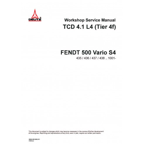 Fendt DEUTZ TCD 4.1 L4 Tier 4F engine workshop service manual - Fendt manuals
