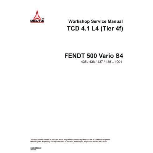 Manual de serviço de oficina de motores Fendt DEUTZ TCD 4.1 L4 Tier 4F - Fendt manuais