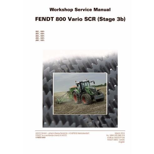 Manuel d'entretien de l'atelier de tracteur Fendt 800-819/822/824/826/828 - Fendt manuels