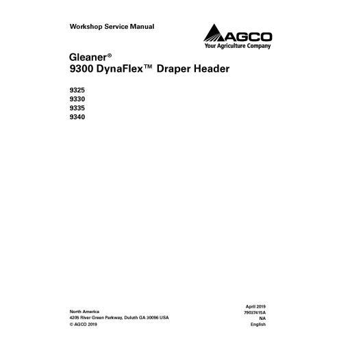 Manual de servicio del taller del cabezal Gleaner 9325/9330/9335/9340 - Espigador manuales