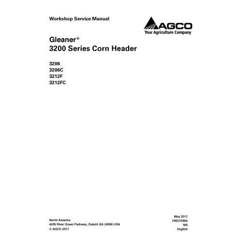 Manual de serviço da oficina do cabeçalho Gleaner 3206 / 3206C / 3212F / 3212FC - Gleaner manuais
