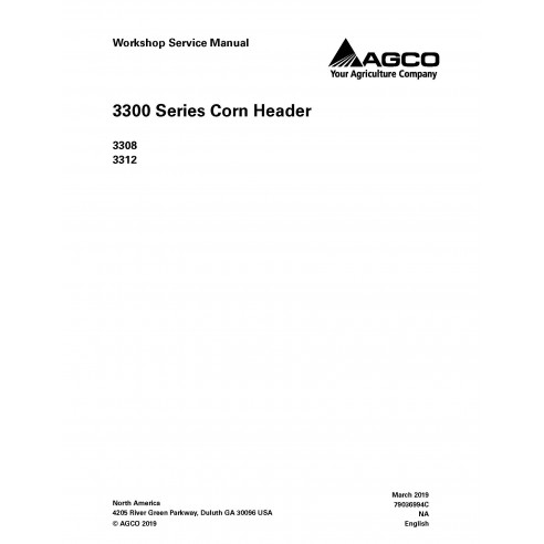Manual de servicio del taller del cabezal Gleaner 3308/3312 - Espigador manuales