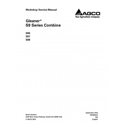 Gleaner S96 / S97 / S98 combine workshop service manual