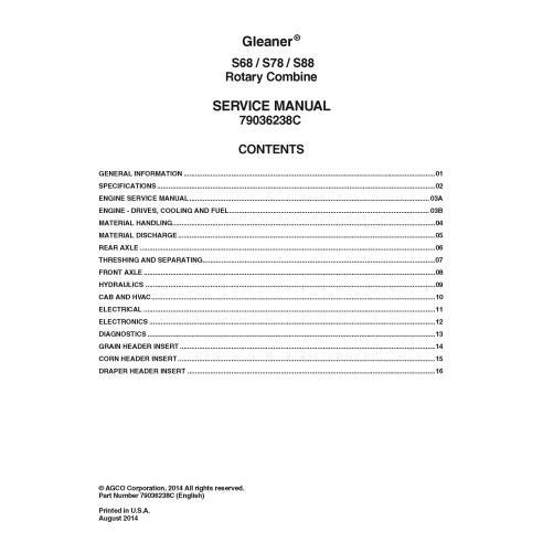 Gleaner S68 / S78 / S88 combine service manual - Gleaner manuals