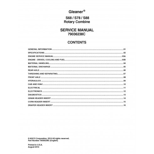 Manual de servicio de la cosechadora Gleaner S68 / S78 / S88 - Espigador manuales