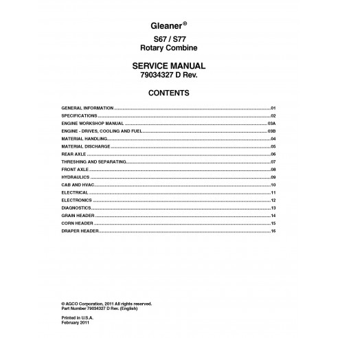 Gleaner S67 / S77 combine service manual