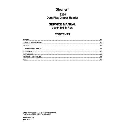 Manual de serviço do cabeçalho Gleaner 9250 - Gleaner manuais