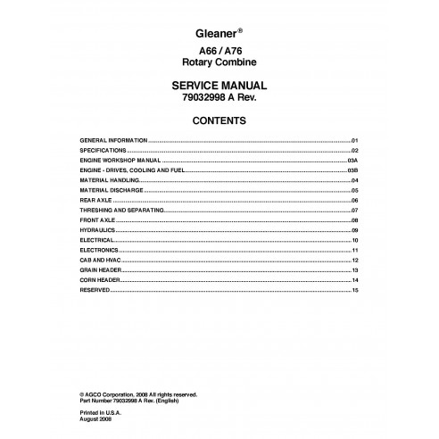 Gleaner A66 / A76 combine service manual - Gleaner manuals