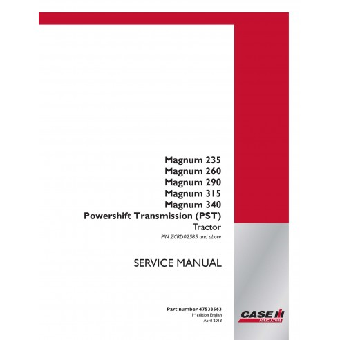 Case Ih Magnum 235 / 260 / 290 / 315 / 340 / 370 PST tractor service manual