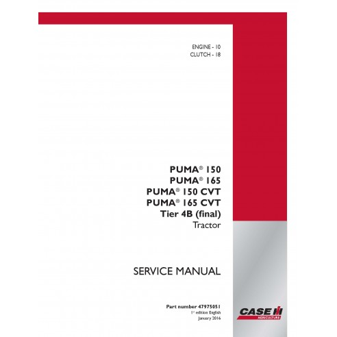 Case Ih Puma 150 / 165 / 150 CVT / 165 CVT Tier 4B tractor service manual