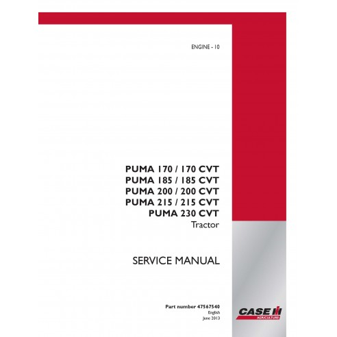 Case Ih Puma 170 / 185 / 200 / 215 / 230 CVT  tractor service manual