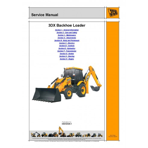 Jcb 3DX backhoe loader service manual - JCB manuals