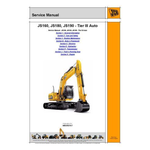Manuel d'entretien de l'excavatrice Jcb JS160 / JS180 / JS190 Tier 3 - JCB manuels