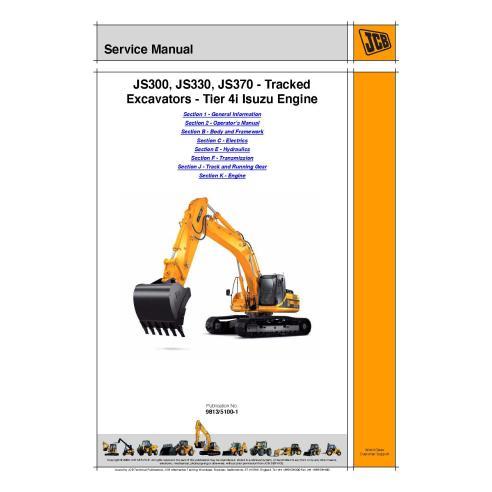 Manual de serviço da escavadeira Jcb JS300, / JS330 / JS370 - JCB manuais