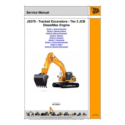 Jcb JS370 Tier 2 excavator service manual - JCB manuals