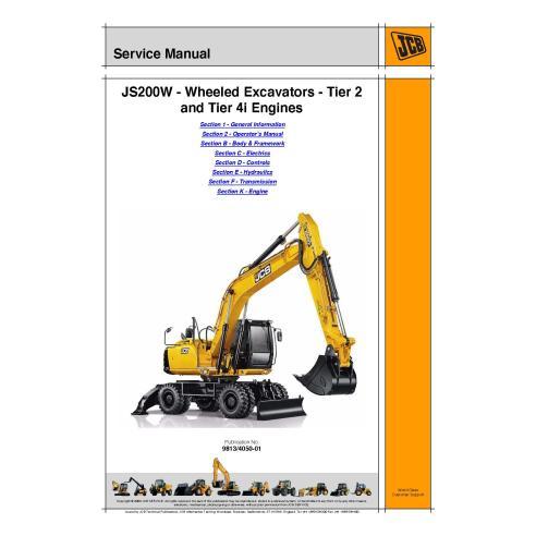 Manual de servicio de la excavadora Jcb JS200W - JCB manuales
